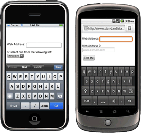 URL input type in iphone and android